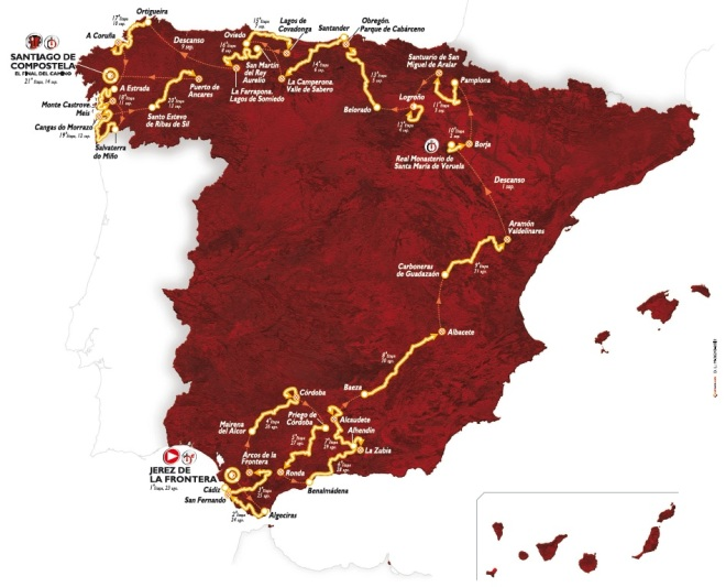 Vuelta 2014 route (copyright and via LaVuelta.com)