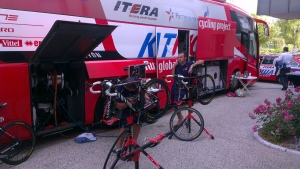 Katusha team bus and bikes at our hotel in Tours